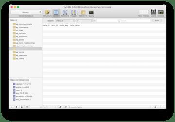 The empty termmeta database table