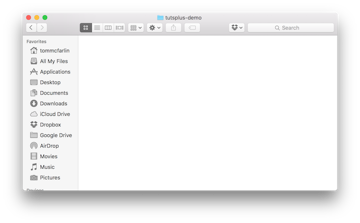 The initial project directory