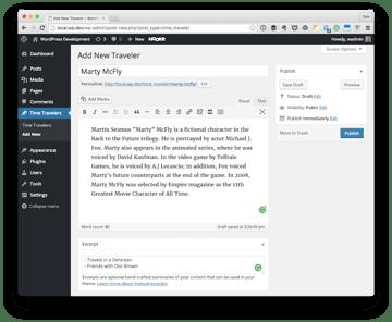 Adding a Time Traveler custom post type