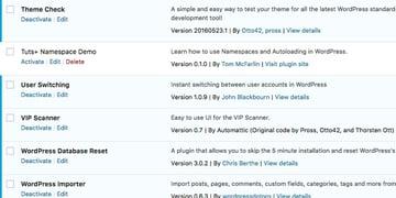 The Tuts Namespace Demo plugin in the WordPress administration area