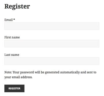Custom new user registration form