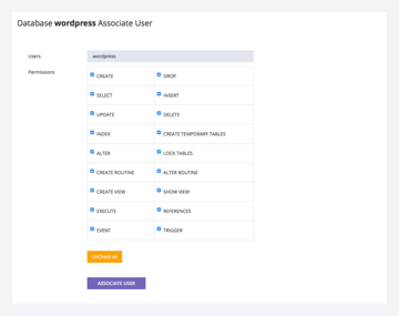 Select permissions for the database user