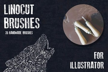 Linocut Brushes for Adobe Illustrator