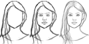 Rough Sketch to Clean Drawing Progression in Photoshop