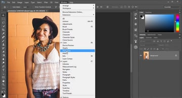 Accessing the Histogram Panel in Adobe Photoshop