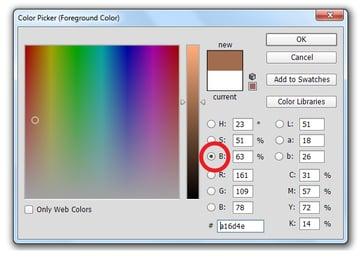 Brightness Setting on Photoshop Color Picker