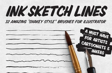 Ink Sketch Lines - 32 Illustrator Brushes