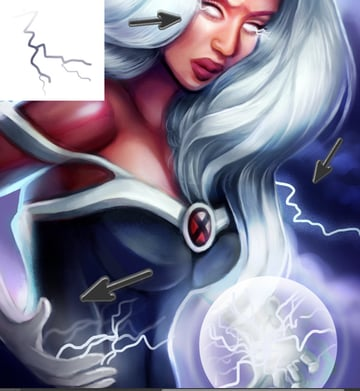 Digitally Paint LIghtning Bolts for X-men Storm