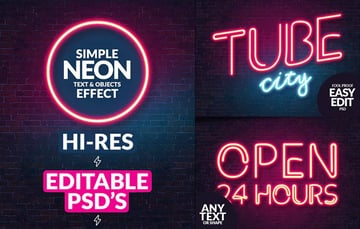 Neon Text Effect Style Photoshop