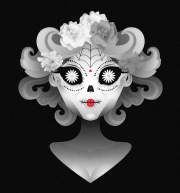 Adobe Illustrator Calavera Portrait by Karen