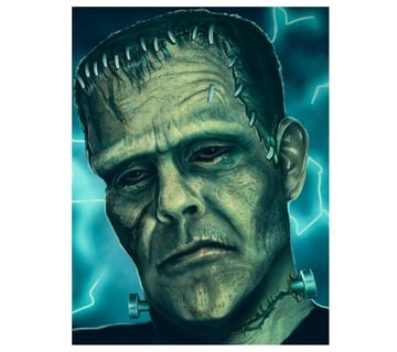 Paint Highlights on Frankensteins Face