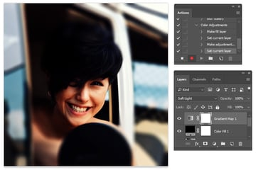 Set a Black and White Gradient Map to your Photoshop Action