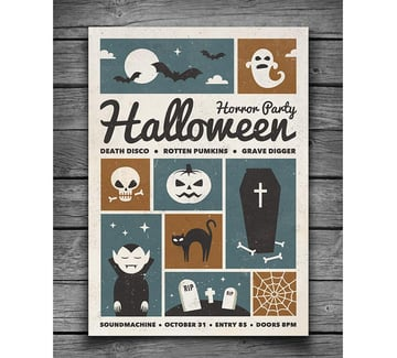 Retro Halloween Party Flyer
