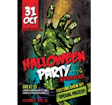 Graphic Zombie Hand Halloween Party Flyer