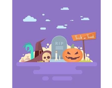 Happy Halloween Banner Invitation Card