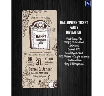 Halloween Ticket Party Invitation