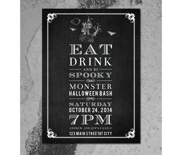 Chalkboard Halloween Invitation Card