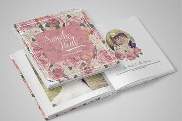 DIY Peonies Wedding Album PSD