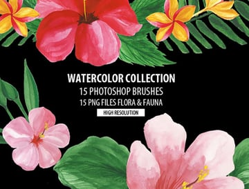 15 Watercolor Brushes for Photoshop