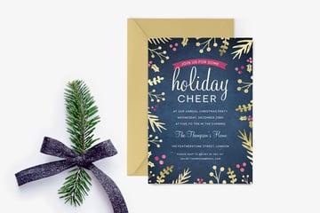 Foil Foliage Christmas Party Invitation