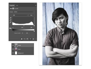 Use Levels to Adjust the Desaturated Photo