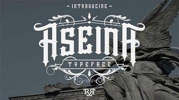 Aseina Typeface Tattoo Lettering