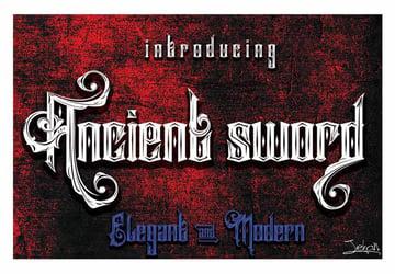 Ancient Sword Tattoo Fonts Cursive Elegant