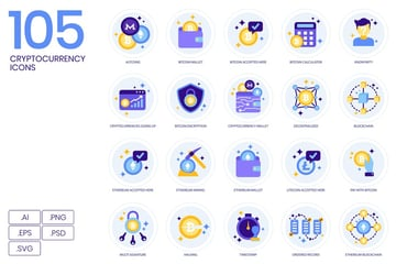 105 Cryptocurrency Icons