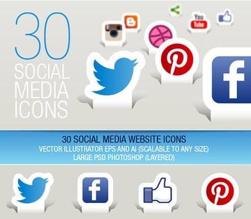30 Social Media Icons Paper Cut