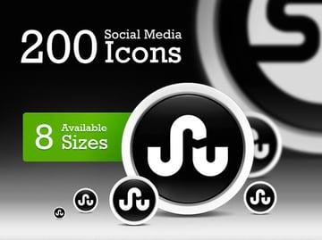 Black and White Social Media Icons