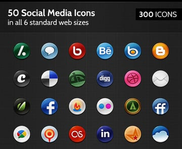 50 Badge Social Media Icons
