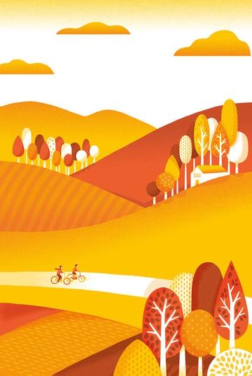 Cycling in Autumn Art by Mutsumi Kawazoe