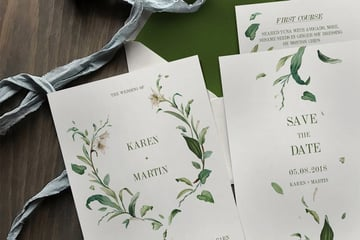 Green Foliage Wedding Invitation