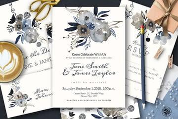 Grey Wedding Invitation Set