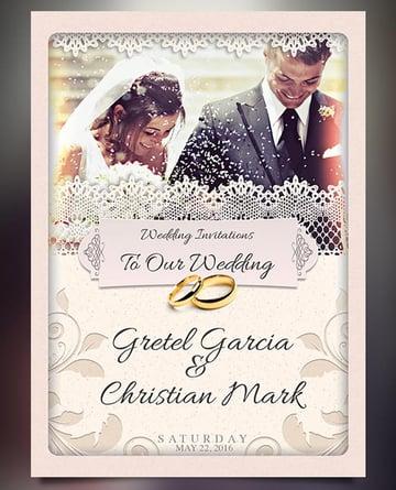 Lace Wedding Invitation wedding invitation with photo templates