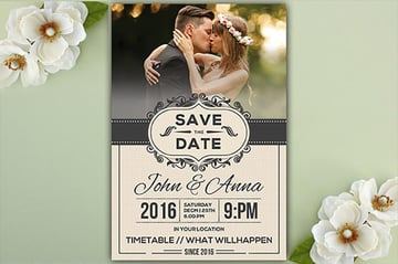 Save the Date Invitation Card wedding invitation with photo templates