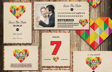 Wedding Invitation Package - I Heart You  wedding invitation with photo templates