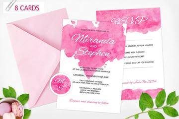 Watercolor Wedding Invitations 8 cards