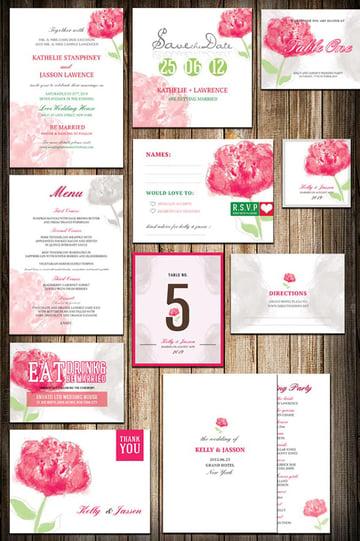 Wedding Invitation Package - Watercolor Flower