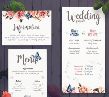 Rose Wedding Invitation Set