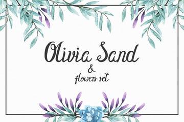 Olivia Sand Typeface Flowers set