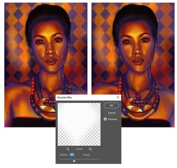 Gaussian Blur Before and After