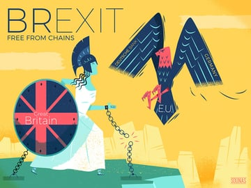 Brexit Free From Chains Illustration by Ilias Sounas