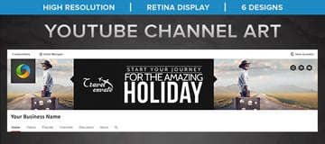 Travel Youtube Channel Art - 6 Designs