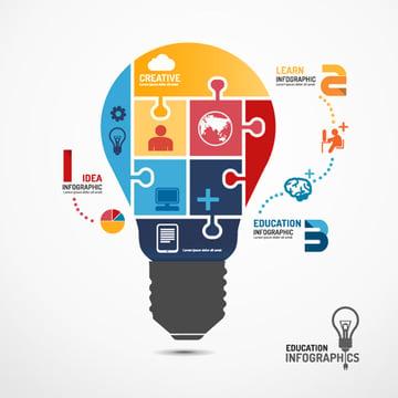 Infographic Template Light Bulb Jigsaw Banner