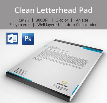 Clean Letterhead Pad With MS Word Doc