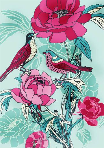 Birds Roses by Ella Tjader