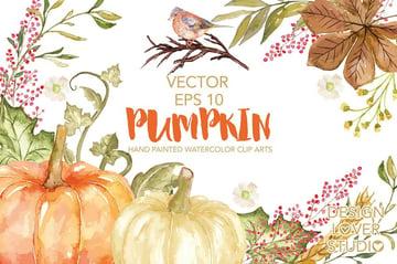 Vector Watercolor Pumpkin