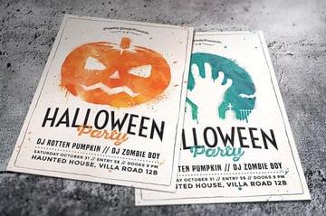 Watercolor Halloween Party Flyer