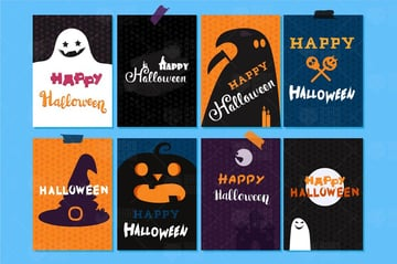 Happy Halloween Banners And Cards Set